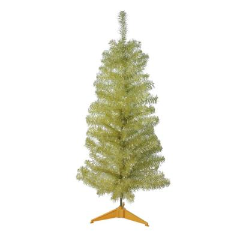 4 ft. x 24 in. Unlit Gold Tinsel Medium Artificial Christmas Tree