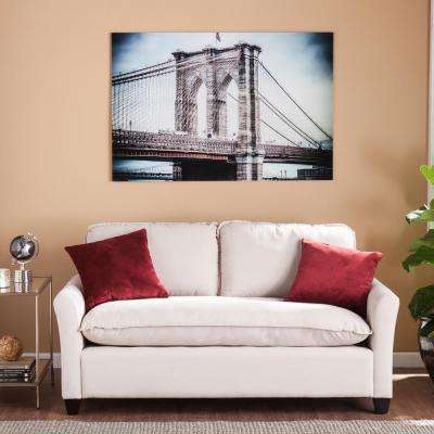 "32 in. H x 47 in. W ""The Brooklyn Bridge"" Glass Wall Art"