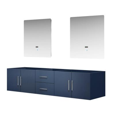 Geneva 80 in. W Double Bath Vanity Cabinet Only with 30 in. LED Mirrors in Navy Blue