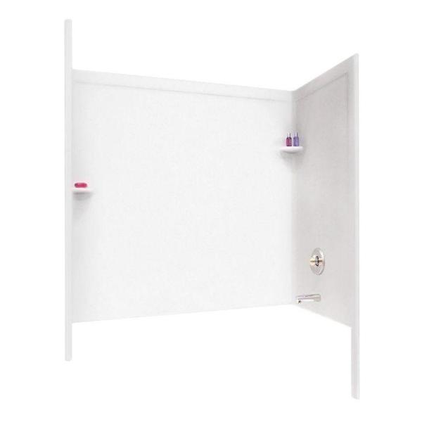 33.5 in. x 60 in. x 60 in. 3-Piece Easy Up Adhesive Alcove Tub Surround in White