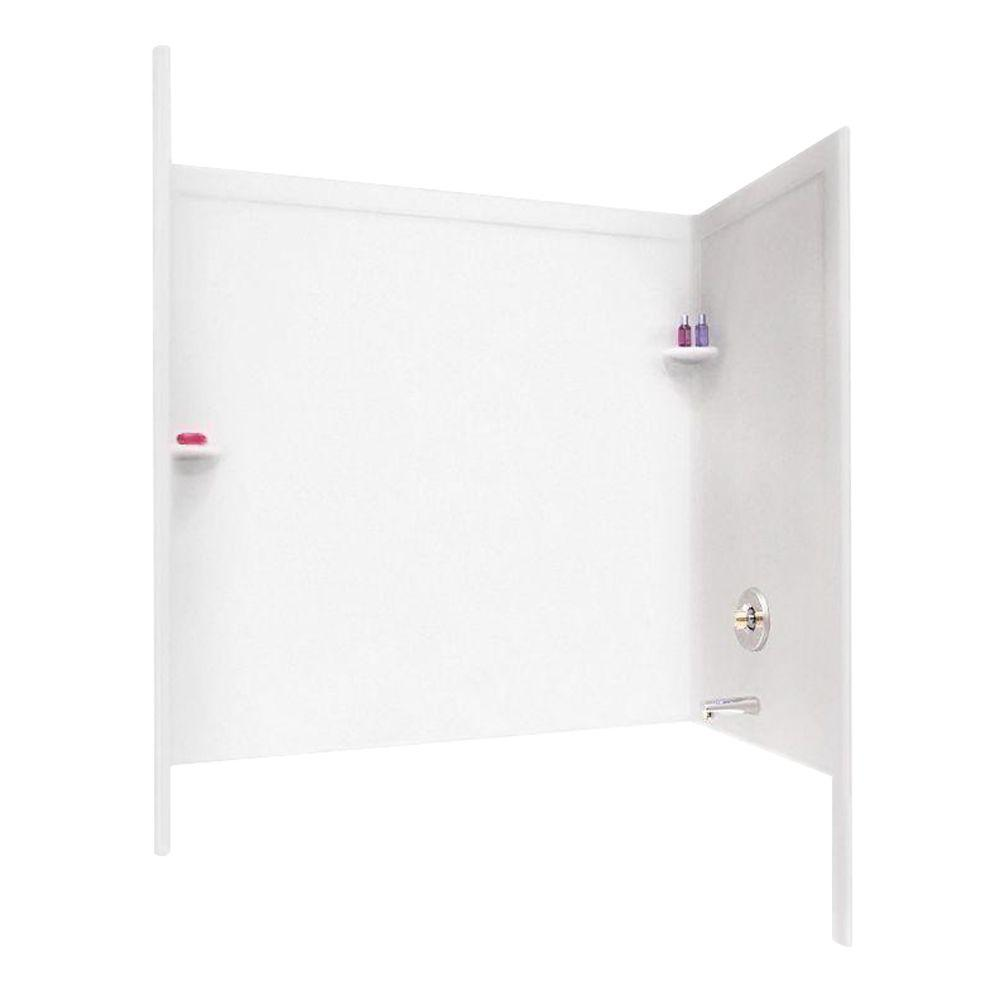Swan 33-1/2 in. x 60 in. x 60 in. 3-Piece Easy Up Adhesive Tub Wall in White