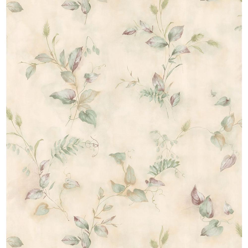 Brewster Kitchen Bath Bed Resource III Green Crinkle Leaf Wallpaper Sample