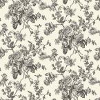The Wallpaper Company 56 sq. ft. Black and White Lacey Rose Toile Wallpaper