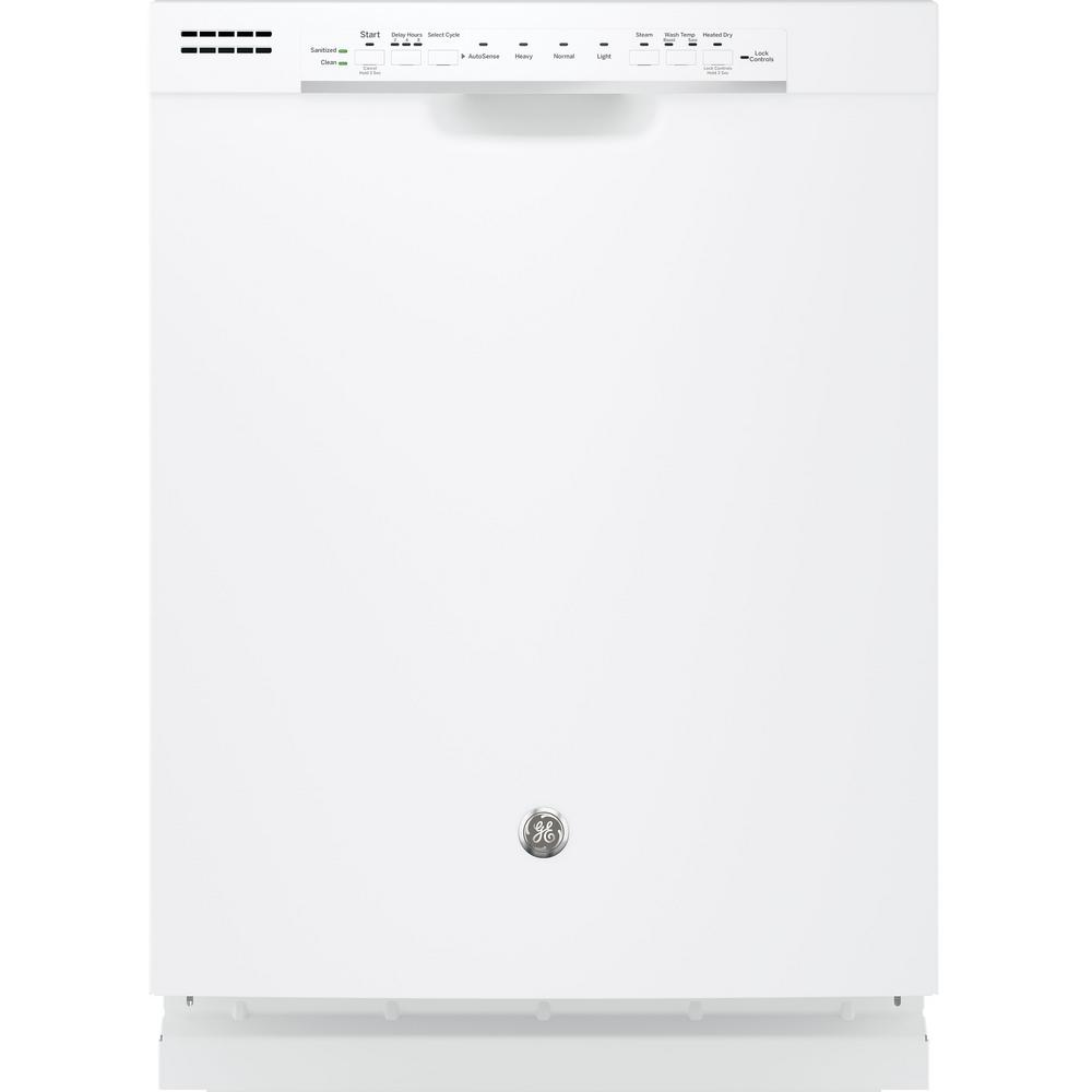 Front Control Built-In Tall Tub Dishwasher in White with Steam Prewash