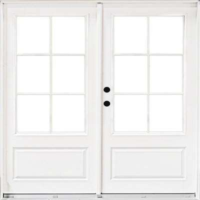 new product 36867 19a66 72 in. x 80 in. Fiberglass Smooth White Right-Hand Inswing Hinged 3/4 Lite  Patio Door with 6 Lite SDL