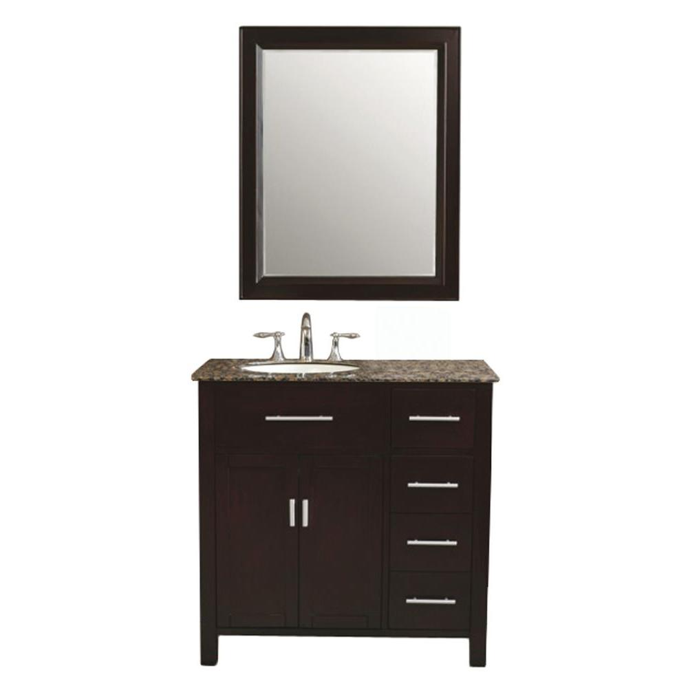 Virtu USA Palermo 36 in. Single Basin Vanity in Espresso with Granite Stone Vanity Top in Baltic Brown and Mirror-DISCONTINUED