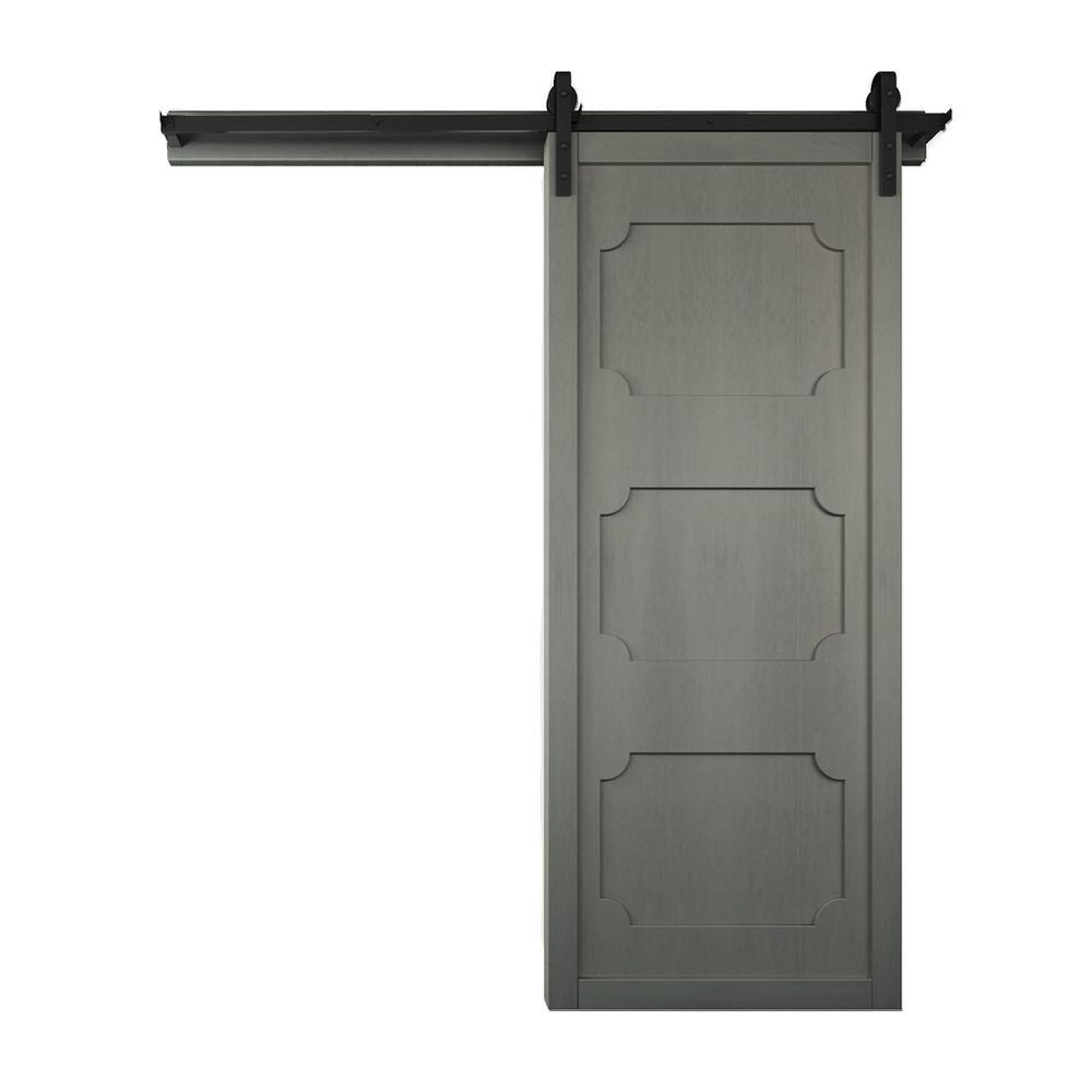 42 in. x 84 in. The Harlow III Dove Wood Barn Door with Sliding Door Hardware Kit