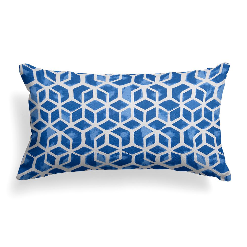 Grouchy Goose Blue Cubed Rectangular Outdoor Lumbar Throw Pillow