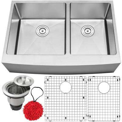 Bryce Farmhouse Apron Front 16-Gauge Stainless Steel 33 in. Double Basin Kitchen Sink with Accessory Kit