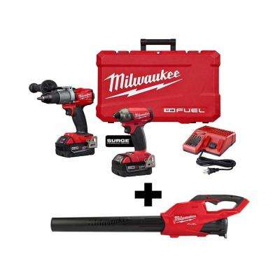 M18 FUEL 18-Volt Lithium-Ion Brushless Cordless Surge Impact/Hammer Drill Combo Kit with Free M18 FUEL Blower