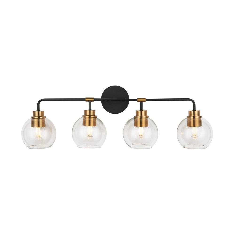 Home Decorators Collection 4-Light Aged Bronze and Brass Vanity Light