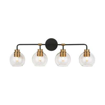 4-Light Aged Bronze and Brass Vanity Light