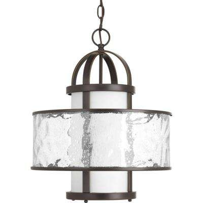 Bay Court Collection 1-Light Antique Bronze Large Foyer Pendant with Distressed Clear Glass
