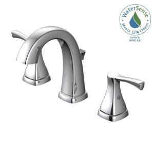 Glacier Bay Jaci 8 inch Widespread 2-Handle Bathroom Faucet in Chrome and Ceramic Disc Cartridge with Pop-Up Assembly by Glacier Bay