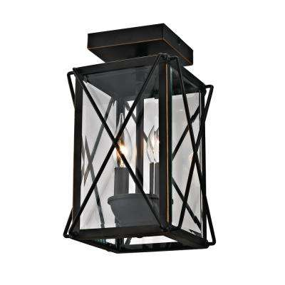2-Light Outdoor Flush Mount Lantern with Beveled Glass, Oil-Rubbed Bronze Finish and Gold Trim