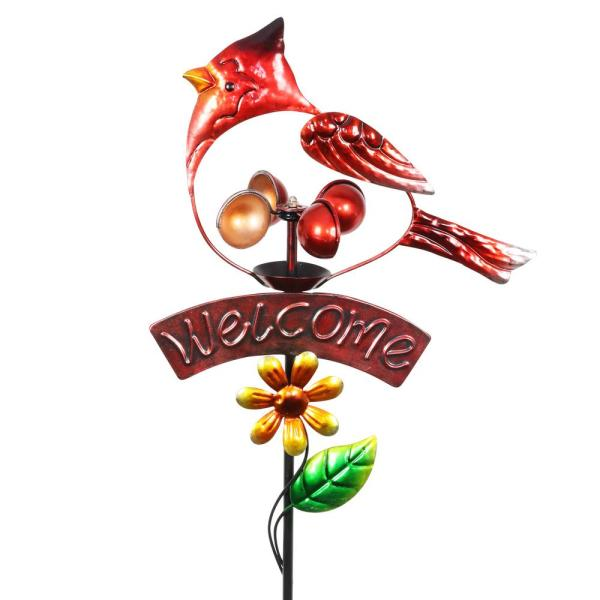 Cardinal Welcome Spinner 3.0 ft. Red Metal Garden Stake