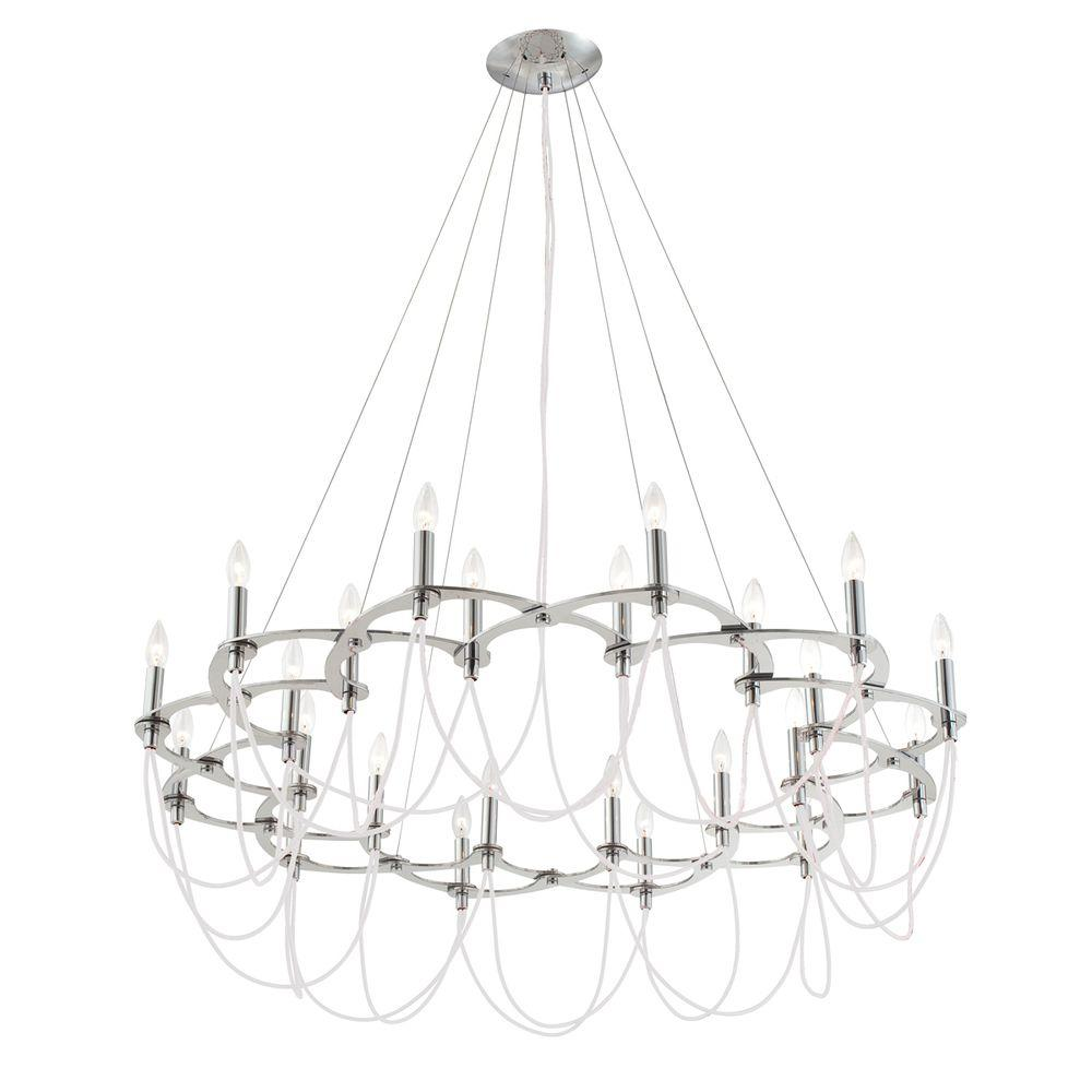 Eurofase Triumph Collection 24-Light Chrome and White Chandelier-DISCONTINUED