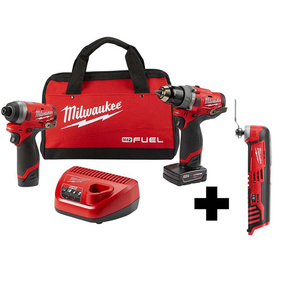 Milwaukee M12 FUEL 12-Volt Lithium-Ion Brushless Cordless Hammer Drill and Impact Driver Combo Kit (2-Tool) with Free Rotary Tool was $308.0 now $199.0 (35.0% off)
