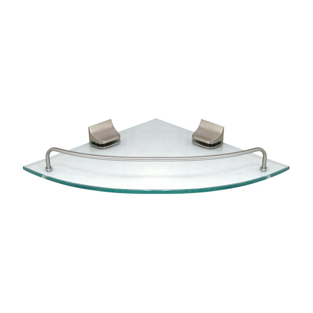 MODONA 9 5 in  x 9 5 in  Glass Corner Shelf with Pre-Installed Rails in  Satin Nickel