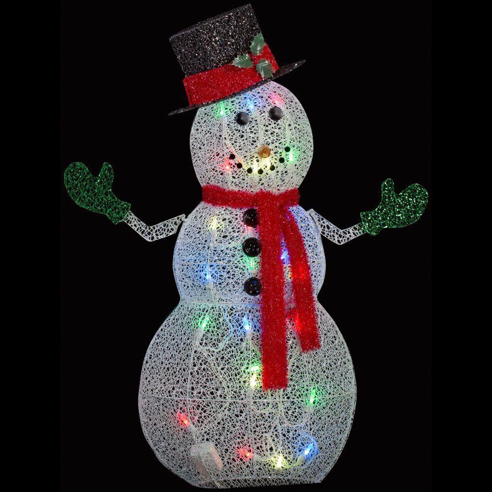 50 in. Crystal Swirl Snowman Lighted Yard Sculpture