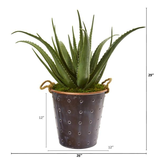 Nearly Natural 29 In Aloe Artificial Plant In Decorative Pail