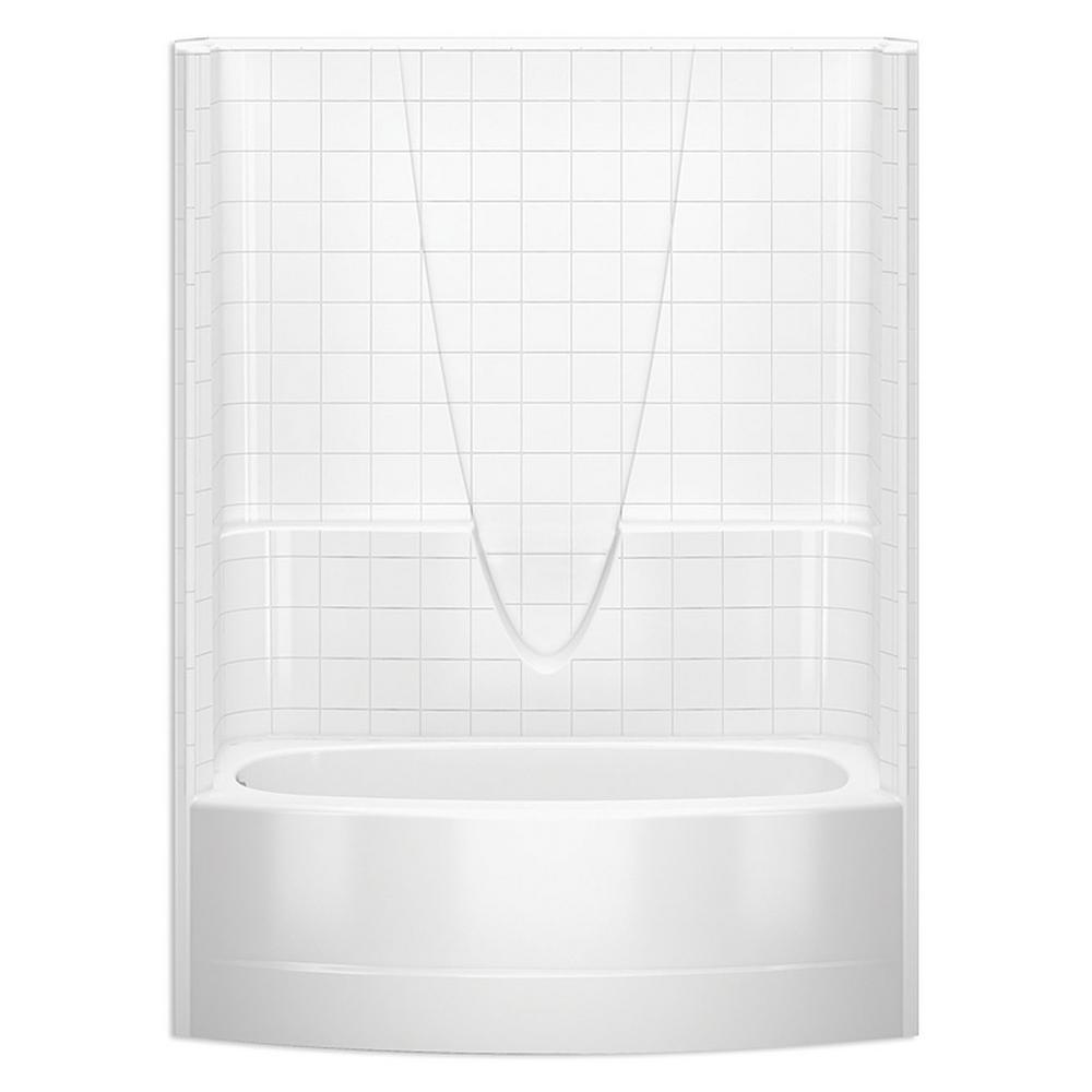Aquatic everyday smooth tile 60 in x 36 1 4 in to 42 in for 6 tub shower combo