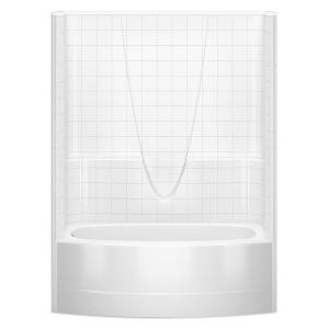 Aquatic 60 in. x 30 in. x 72 in. 1-piece Direct-to-Stud Tub Wall ...