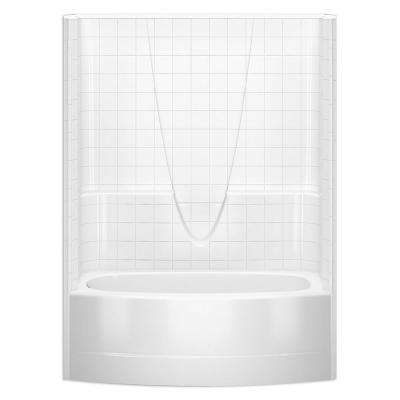 Everyday Smooth Tile 60 in. x 36.3 in. x 77.3 in. 1-Piece Curved Bath and Shower Kit with Left Drain in White