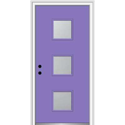 30 in. x 80 in. Aveline Right-Hand Inswing 3-Lite Frosted Glass Painted Steel Prehung Front Door on 4-9/16 in. Frame