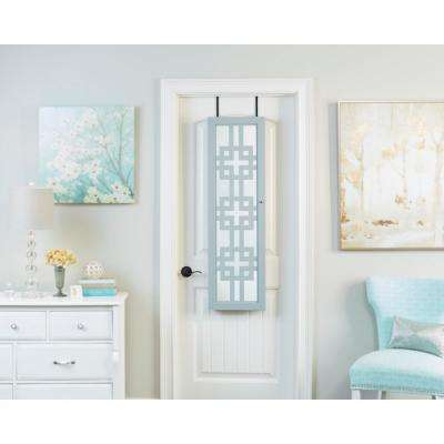 Modern Jewelry Armoire with Decorative Mirror - Gray
