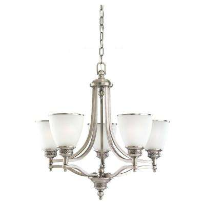 Laurel Leaf 5-Light Antique Brushed Nickel Single-Tier Chandelier