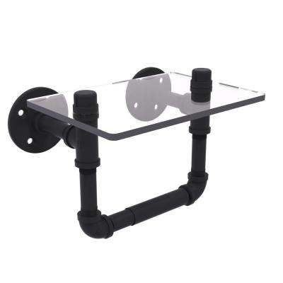 Pipeline Collection Wall-Mount Toilet Tissue Holder with Glass Shelf in Matte Black