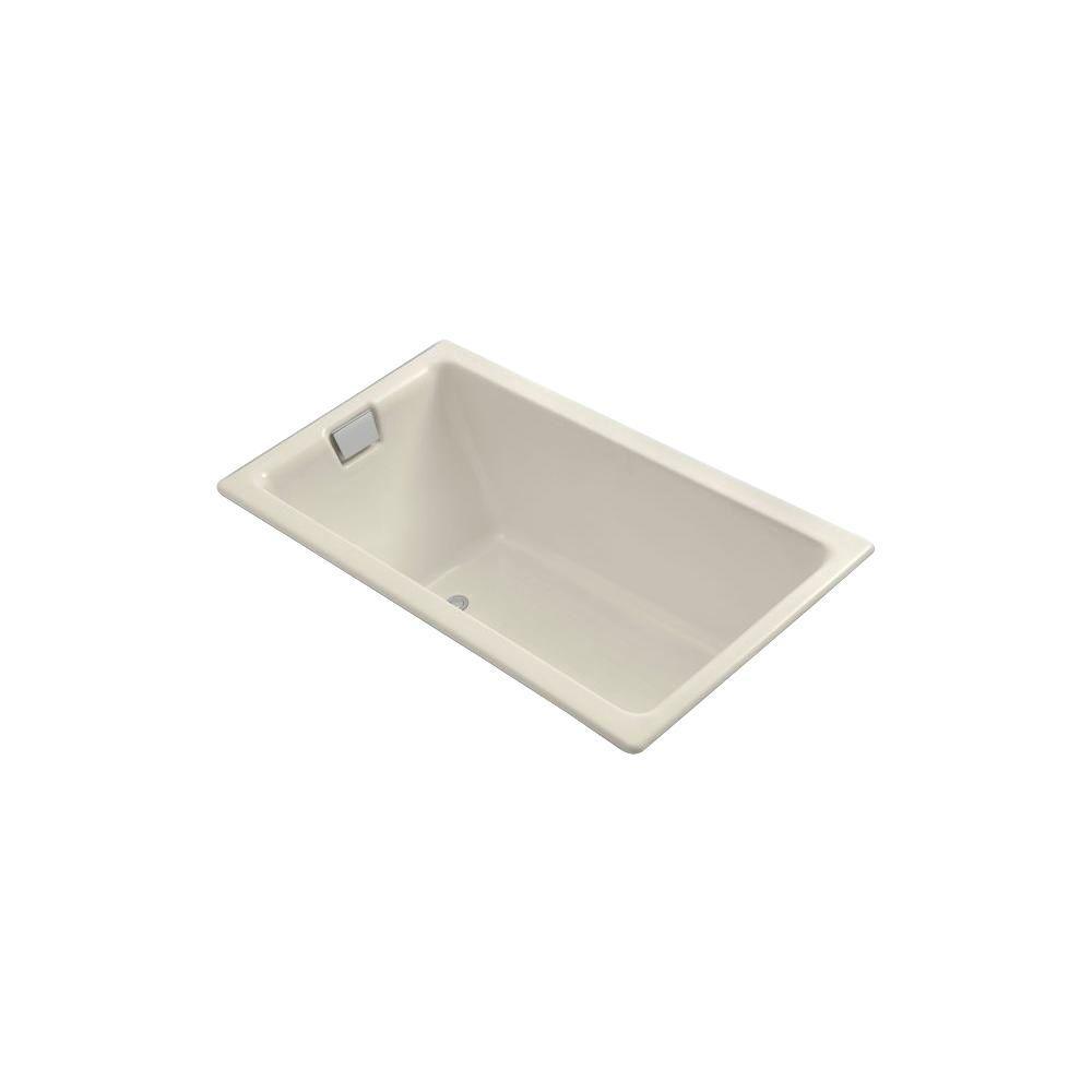 KOHLER Tea-for-Two 5-1/2 ft. Rectangle Reversible Drain Soaking Tub in Almond