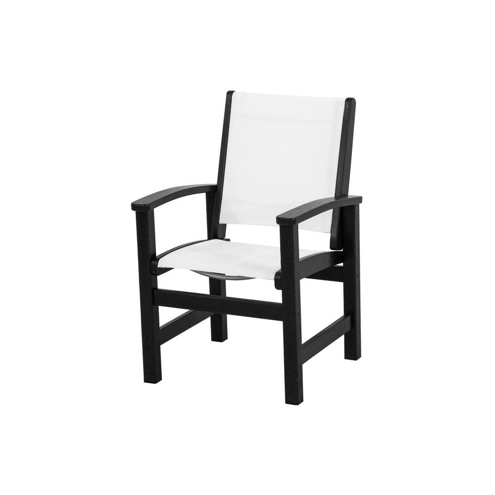Coastal Black All-Weather Plastic/Sling Outdoor Dining Chair in White