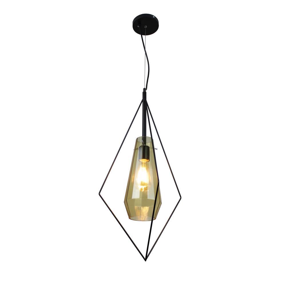 Itzia 1-Light Black Rhombus Pendant with Amber Glass Shade