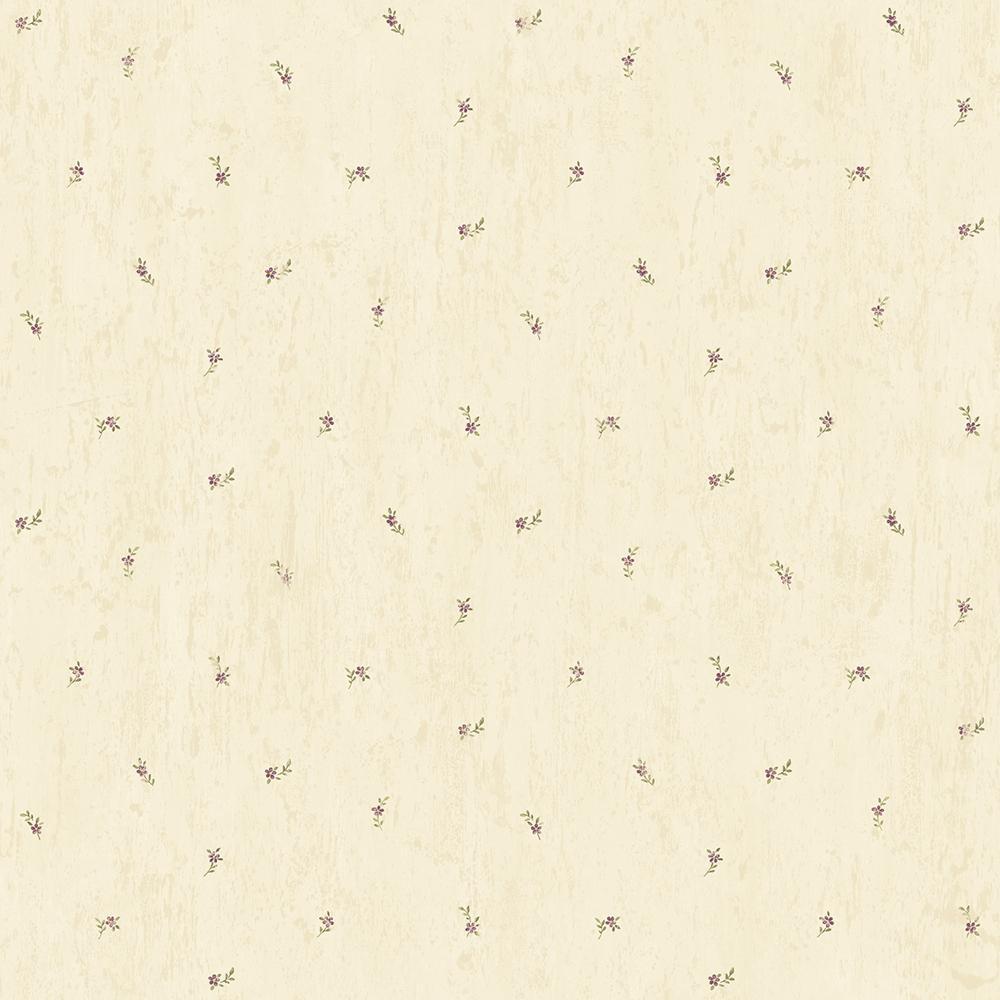 Lafayette Sand Floral Toss Wallpaper Sample