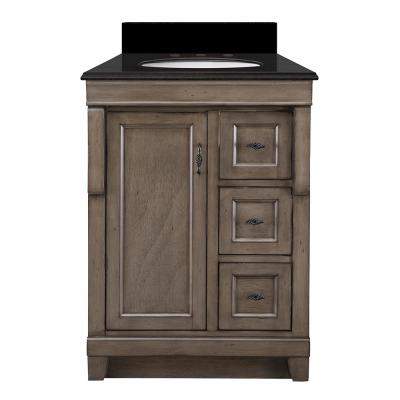 Naples 25 in. W x 22 in. D Vanity in Distressed Grey with Granite Vanity Top in Midnight Black with Oval White Basin