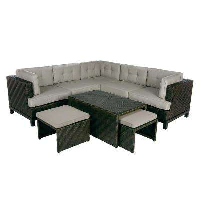 Rachel 8-Piece Wicker Patio Sectional Seating Set with Cast-Ash Cushions