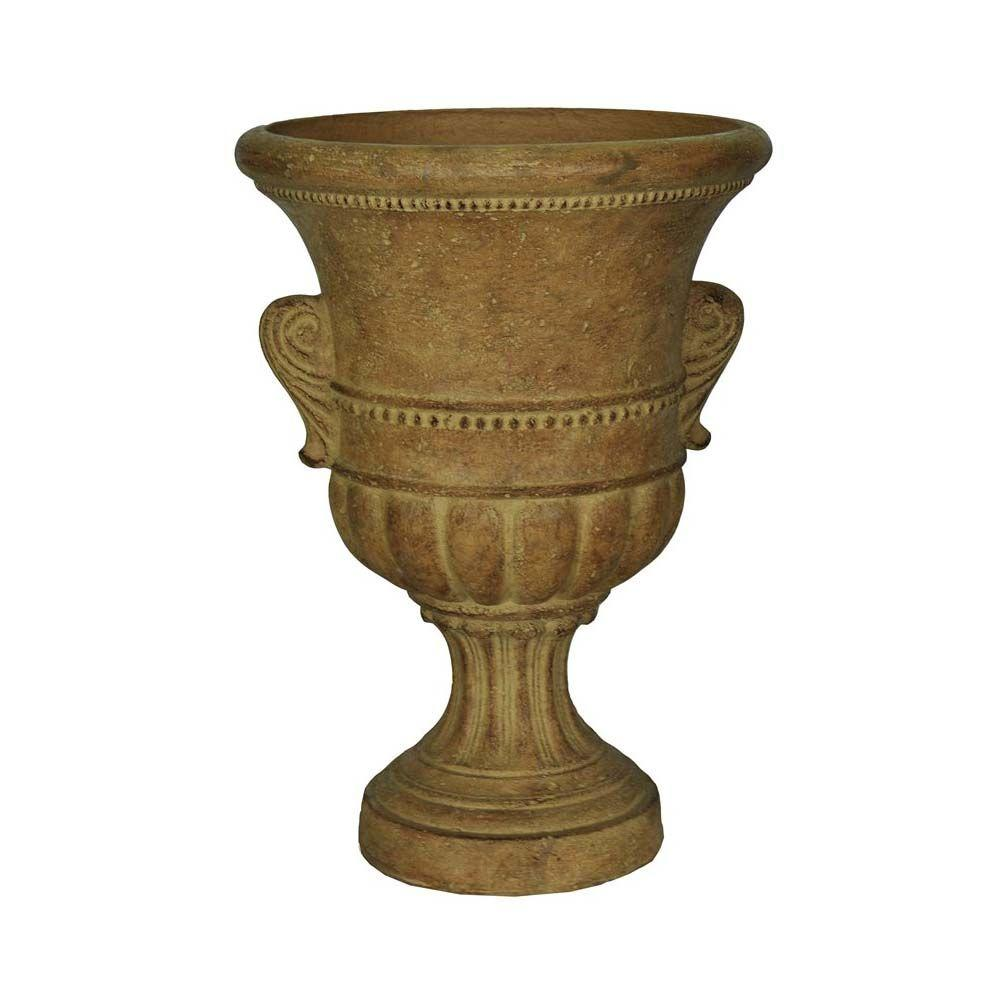 MPG 13 in. x 18 in. Cast Stone Urn with Handles in Aged Ivory
