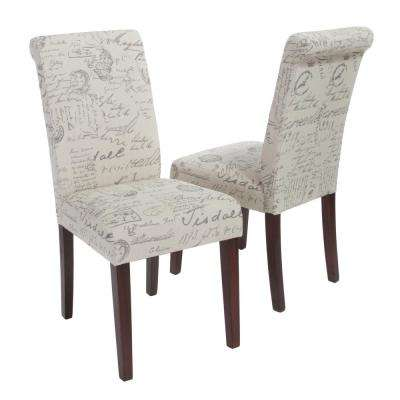 French Beige Linen Printed Dining Chair (Set of 2)