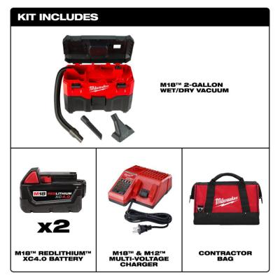 M18 18-Volt 2 Gal. Lithium-Ion Cordless Wet/Dry Vacuum with Two 4.0 Ah Batteries, Charger and Contractor Bag