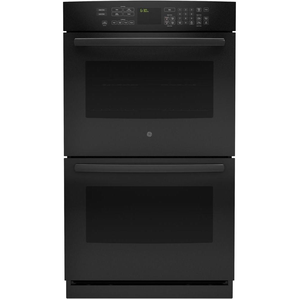 GE Profile 30 in. Double Electric Wall Oven Self-Cleaning with Convection in Black