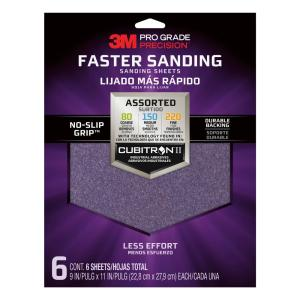 Pro Grade Precision 9 in. x 11 in. 80, 150, 220 Assorted Grits Advanced Sanding Sheets (6-Pack)