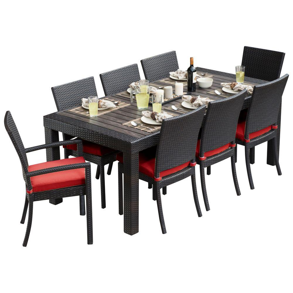 rst brands deco 9piece patio dining set with cantina red cushions