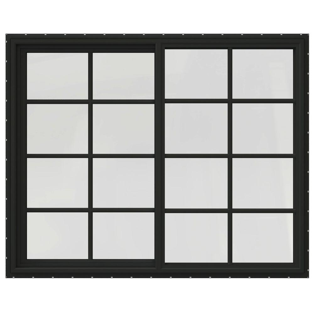 JELD-WEN 59.5 in. x 47.5 in. V-4500 Series Right-Hand Sliding Vinyl Window with Grids - Bronze