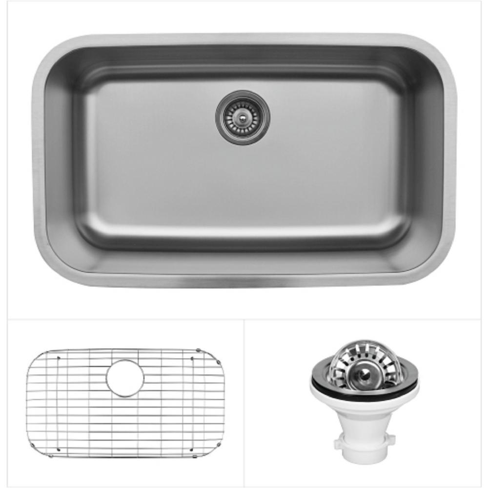 Karran Undermount Stainless Steel 31 in. Extra Large Single Basin Kitchen Sink Kit