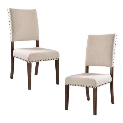 Beige and Brown Fabric Upholstered Solid Wood Side Chair (Set of 2)