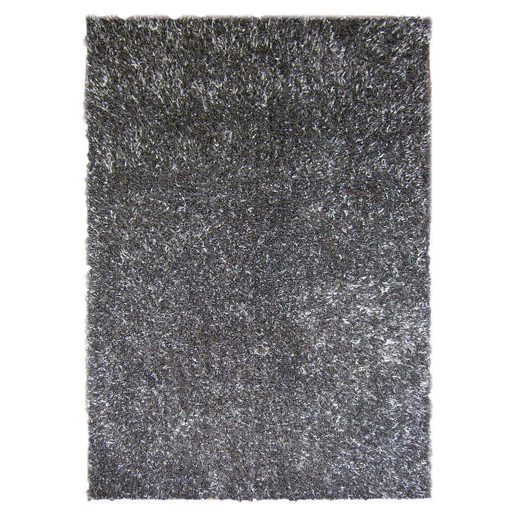 Lanart Ribbon Shag Charcoal 5 ft. x 7 ft. 6 in. Area Rug