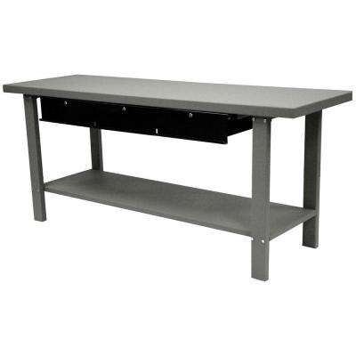 Industrial 34 in. H x 78.75 in. W x 25.5 in. H Steel Workbench with 3-Drawer, Gray