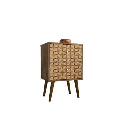 Liberty 2.0 Rustic Brown and 3D Brown Print Nightstand